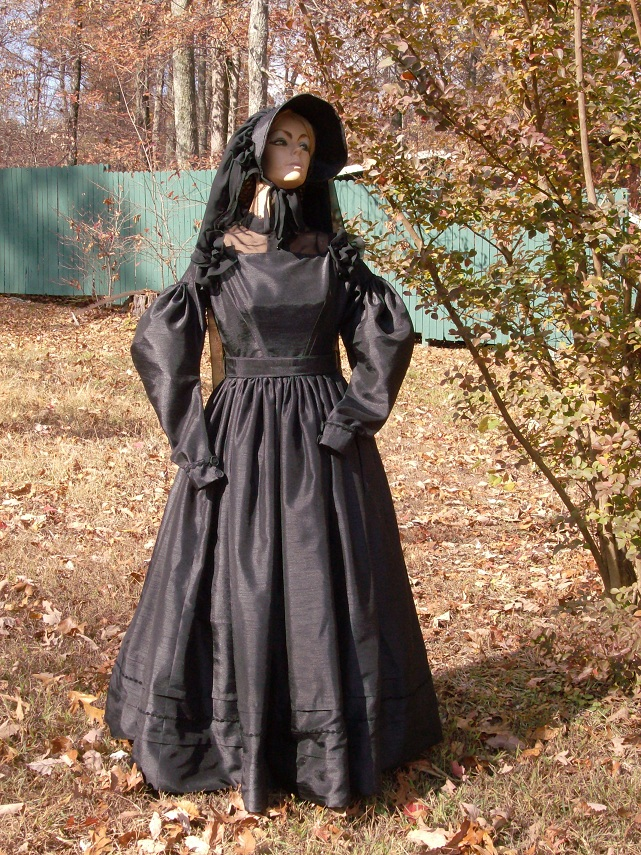 1830 mourning dress, veil, and hat.