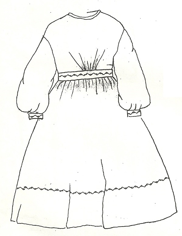 1860's Girl's Everyday Dress, School or Play, Weddings, Balls, Teas or Party