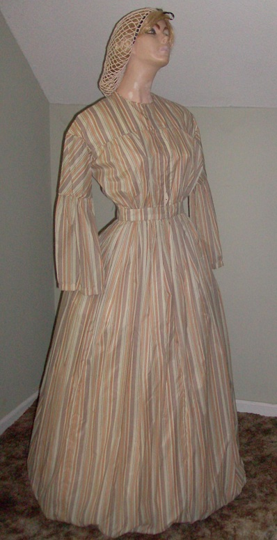 1830 -1860s Ladies Round Dress (Pioneer): Camp  Work, or Homestead Dress